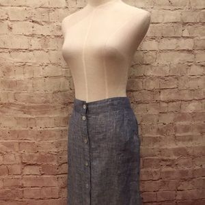 Artisan NY Linen Button Front Slits A Line Pockets